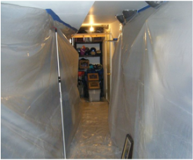 Containment zone built during mold remediation