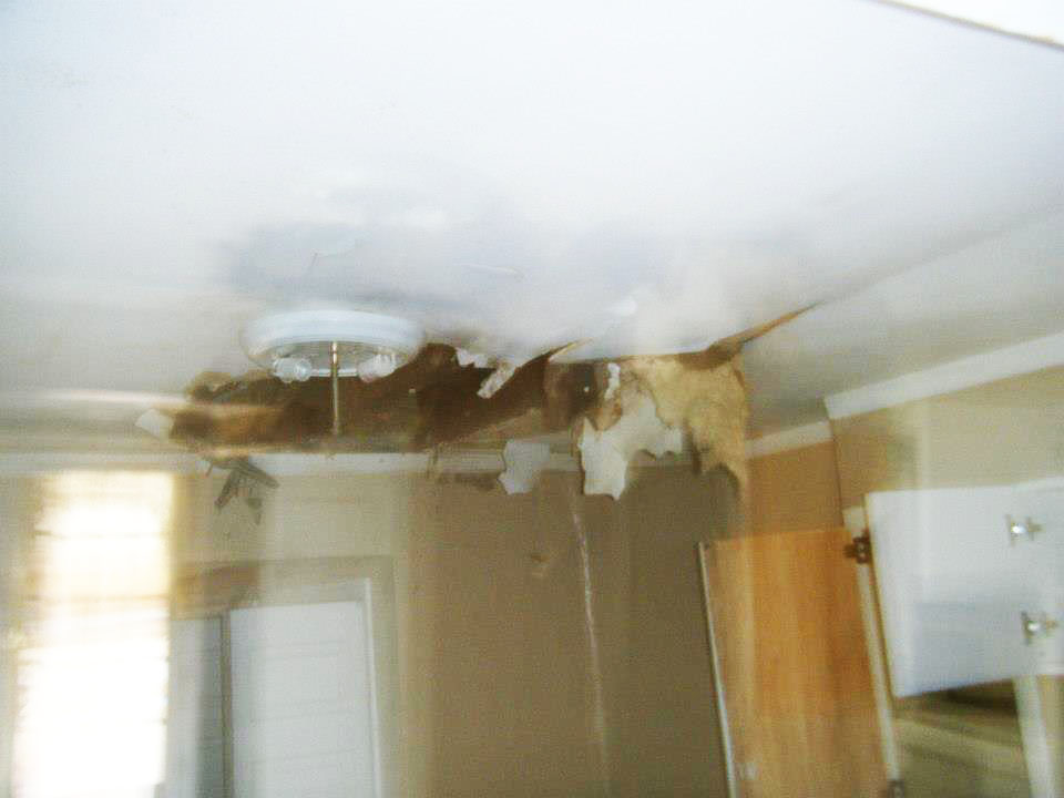 Water damage from a leaky roof.