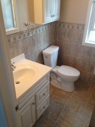 Water damaged bathroom built back to original condition