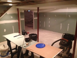 Replacement of sheetrock on basement walls in Clifton Park